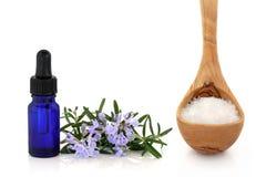 Herbe de Rosemary et sel de mer Photographie stock libre de droits