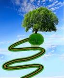 Herbe de route et un rendu isolé de l'écologie -3d d'arbre Photos stock