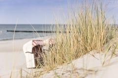 Herbe dunaire sur la plage de mer baltique Photographie stock