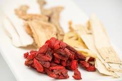 Herbe et épice chinoises pour la préparation médicale de soupe Photographie stock libre de droits