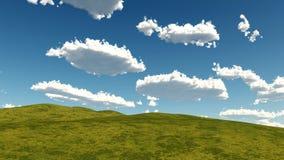Herbe et horizontal de nuages Photo stock