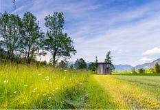 Herbe fauchée au pré rural du Tyrol photos libres de droits