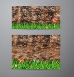 Herbe verte de vecteur au-dessus de fond de mur de briques Images libres de droits