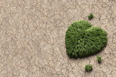 Herbe verte en forme de coeur s'élevant de la terre sale Photos libres de droits