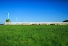Herbe verte et barrière blanche sur le bord de mer Photographie stock libre de droits