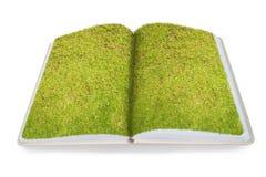 Herbe verte sur le carnet réutilisé ouvert d'isolement sur le CCB blanc Image stock