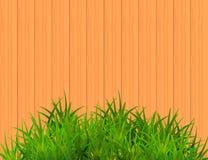 Herbe verte sur le fond en bois de Brown avec l'espace pour le texte illustration stock