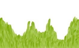 Herbe verte tirée par la main sur le fond blanc Photo libre de droits