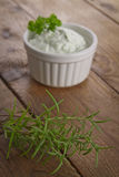 Herbed quark. With fresh spices Stock Photography
