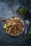 Herbed rice with fried fish, persian new year dish royalty free stock image