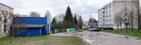 Herberge und Abfalleimer der landwirtschaftlichen Lehrkörpers des Vilnius Co Stockfoto