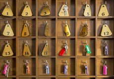Herberges-Zimmerschlüssel Stockbild