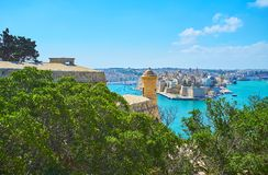 The scenicgardens at Valletta fortress, Malta. The Herbert Ganado Gardens located adjacent to St Peter and Paul counterguard of Valletta fortress, the garden`s Stock Image