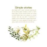 Herbes d'aquarelle et fleurs, fond de vecteur Photographie stock