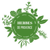 Herbes de Provence flat silhouettes. Vector set of spice blend. Design for cosmetics, restaurant, menu, store, market, health care products. French cuisine Royalty Free Stock Photography
