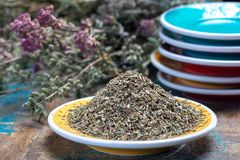 Herbes de Provence, mixture of dried herbs considered typical of. The Provence region, blends often contain savory, marjoram, rosemary, thyme, oregano, lavender royalty free stock photos