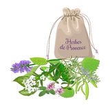 Herbes de provence sachet. Mix. Swatch pouch with herbs. Design for cosmetics, restaurant, store, market, natural health care products. Can be used as logo Royalty Free Stock Photography