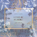 Herbes de Provence template on blurred background with botanical sketches. Herbes de Provence template on blurred background with botanical hand drawn sketches Royalty Free Stock Photos