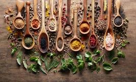Herbes et épices sur le conseil en bois Photos libres de droits