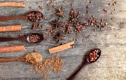 Herbes et épices sur un conseil en bois Cuillère d'épice photos stock
