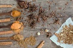 Herbes et épices sur un conseil en bois Cuillère d'épice photographie stock libre de droits
