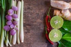 Herbes et épices thaïlandaises de soupe à Tom Yam sur le fond en bois de vintage Ingrédients d'herbe L'espace central Photo libre de droits