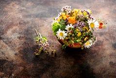 Herbes et fleurs médicinales pour le thé curatif de fines herbes Photographie stock