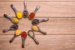 Herbes indiennes sur la cuillère en bois Photographie stock