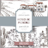 Herbes label with cottage, lavender, oregano, rosemary, thyme, basil. Herbes de Provence label with Provence cottage landscape, lavender, oregano, rosemary Royalty Free Stock Images
