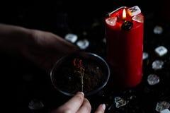 Herbes magiques brûlantes de sorcière Image libre de droits