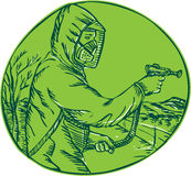 Herbicide Pesticide Control Exterminator Spraying Etching. Etching engraving handmade style illustration of herbicide pesticide control exterminator spraying Stock Images
