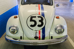 Herbie, the love bug. Hood and front of replica of Herbie, the famous Volkswagen Beetle from the Disney films Stock Image