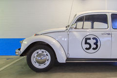 Herbie, the love bug. Side view  of replica of Herbie, the famous Volkswagen Beetle from the Disney films Royalty Free Stock Image