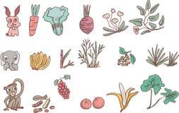 Herbivor och älskvärd djur översiktsvektor stock illustrationer