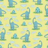 Herbivorous dinosaur and egg in the grass on a yellow background. Seamless pattern.  Hand-drawn DIPODOK. Vector illustration. Design for children`s textiles Stock Image