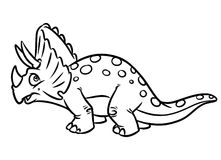 Herbivorous dinosaur  Jurassic period coloring pages. Cartoon illustration Royalty Free Stock Images