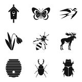 Herbivorous icons set, simple style. Herbivorous icons set. Simple set of 9 herbivorous vector icons for web isolated on white background Stock Image