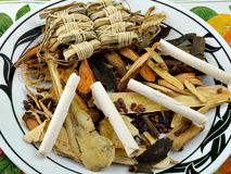 Herbs. More Chinese herbs on a plate stock images