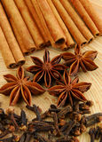 Herbs. Clove, aniseed and cinnamon on a wooden background royalty free stock image