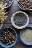 Herbs And Spices In Bowls Stock Photos