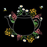 Herbs around the teapot on a black layer with the flying bees. On a transparent background Royalty Free Stock Photography