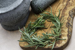 Herbs as heart. Stilllive with mortar and herbs Royalty Free Stock Photo