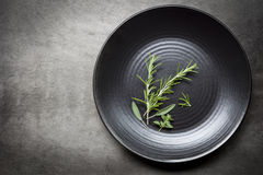Herbs on Black Plate over Slate Aerial view Stock Photography