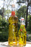 Herbs in bottles with oil Royalty Free Stock Photo