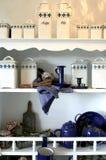 Herbs Boxes On Kitchen Shelf Stock Image