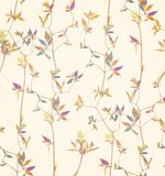 Herbs branch floral on yellow bacground pattern royalty free stock photography