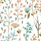 Herbs, brunch, flowers pattern vector Stock Image