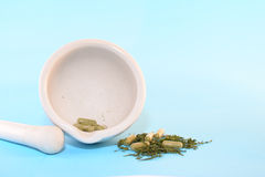 HERBS, CAPSULES AND MORTAR AND PESTLE. Herbs and capsules with white mortar and pestle Stock Image