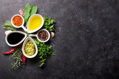 Herbs, condiments and spices. On stone background. Top view with copy space stock images