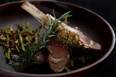 Herbs crusted racks of lamb Stock Photography